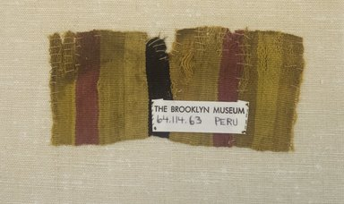 Chimú. <em>Textile Fragment, undetermined</em>, 1000-1400. Cotton, camelid fiber, (15.0 x 7.0 cm). Brooklyn Museum, Gift of Adelaide Goan, 64.114.63 (Photo: Brooklyn Museum, 64.114.63_front_PS5.jpg)