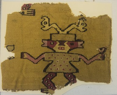 Chancay. <em>Textile Fragment, undetermined</em>, 1000-1532. Cotton, camelid fiber, (18.5 x 22.0 cm). Brooklyn Museum, Gift of Adelaide Goan, 64.114.66 (Photo: Brooklyn Museum, 64.114.66_front_PS5.jpg)
