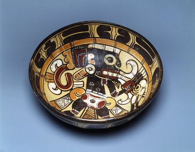 Totonac. <em>Bowl</em>, 900-1200. Ceramic, slip, 3 x 9 1/4 x 9 1/4 in. (7.6 x 23.5 x 23.5 cm). Brooklyn Museum, Ella C. Woodward Memorial Fund, 64.11. Creative Commons-BY (Photo: Brooklyn Museum, 64.11_view2_SL4.jpg)