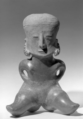 <em>Female Figure</em>, 100-300. Ceramic, 13 × 9 1/2 × 5 1/2 in. (33 × 24.1 × 14 cm). Brooklyn Museum, Purchased with funds given by Joseph F. McCrindle, 64.12. Creative Commons-BY (Photo: Brooklyn Museum, 64.12_acetate_bw.jpg)