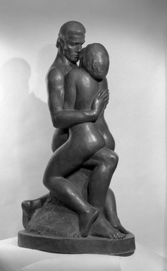 William Zorach (American, born Lithuania, 1887-1966). <em>The Embrace</em>, 1933. Bronze, 64 3/4 x 24 1/2 x 36 in. (164.5 x 62.2 x 91.4 cm). Brooklyn Museum, Purchased with funds given by The Honorable Emil N. Baar, Robert E. Blum, Mrs. Darwin R. James III, Robert A. Morse, Mrs. Louis Nathanson, Mr. and Mrs. Laurance Rockefeller, the Saul and Helen Rosen Foundation, Mrs. Hollis K. Thayer, Dr. John F. Thompson and Elizabeth Thompson and Carll H. de Silver Fund, 64.144. © artist or artist's estate (Photo: Brooklyn Museum, 64.144_view1_acetate_bw.jpg)