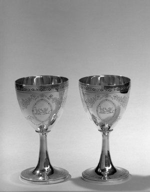 Hester Bateman (English, active in London, 1774-1789). <em>Goblet, One of Pair</em>, ca. 1786-1787. Silver, height: 6 3/8 in. (16.2 cm); diameter of base: 3 1/4 in. (8.3 cm). Brooklyn Museum, Gift of Mr. and Mrs. Frederick B. Hicks, 64.152.11a. Creative Commons-BY (Photo: Brooklyn Museum, 64.152.11a-b_acetate_bw.jpg)