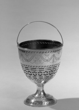 Hester Bateman (English, active in London, 1774-1789). <em>Sugar Basket</em>, ca. 1709-1794. Silver, 5 1/2 x 3 1/8 in. (14 x 7.9 cm). Brooklyn Museum, Gift of Mr. and Mrs. Frederick B. Hicks, 64.152.12a-b. Creative Commons-BY (Photo: Brooklyn Museum, 64.152.12_acetate_bw.jpg)