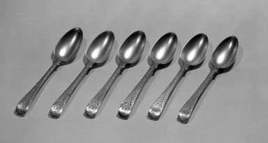 Hester Bateman (English, active in London, 1774-1789). <em>Teaspoon, One from a Set of Six</em>, ca. 1790. Silver, length: 5 1/4 in. (13.3 cm). Brooklyn Museum, Gift of Mr. and Mrs. Frederick B. Hicks, 64.152.18a. Creative Commons-BY (Photo: Brooklyn Museum, 64.152.18a-f_acetate_bw.jpg)