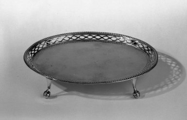 Hester Bateman (English, active in London, 1774-1789). <em>Tray</em>, ca. 1780-1781. Silver, 6 1/2 x 5 1/4 in. (16.5 x 13.3 cm). Brooklyn Museum, Gift of Mr. and Mrs. Frederick B. Hicks, 64.152.22. Creative Commons-BY (Photo: Brooklyn Museum, 64.152.22_acetate_bw.jpg)