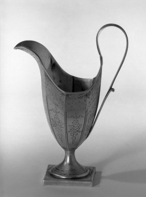 Hester Bateman (English, active in London, 1774-1789). <em>Pitcher</em>, ca. 1789-1790. Silver, Height to top of handle: 7 1/2 in. (19.1 cm). Brooklyn Museum, Gift of Mr. and Mrs. Frederick B. Hicks, 64.152.24. Creative Commons-BY (Photo: Brooklyn Museum, 64.152.24_acetate_bw.jpg)