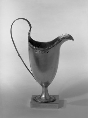 Hester Bateman (English, active in London, 1774-1789). <em>Pitcher</em>, ca. 1787-1788. Silver, 6 1/2 x 1 in. (16.5 x 2.5 cm). Brooklyn Museum, Gift of Mr. and Mrs. Frederick B. Hicks, 64.152.25. Creative Commons-BY (Photo: Brooklyn Museum, 64.152.25_acetate_bw.jpg)