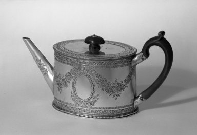 Hester Bateman (English, active in London, 1774-1789). <em>Teapot</em>, ca. 1781-1782. Silver, 5 x 9 1/2 in. (12.7 x 24.1 cm). Brooklyn Museum, Gift of Mr. and Mrs. Frederick B. Hicks, 64.152.29. Creative Commons-BY (Photo: Brooklyn Museum, 64.152.29_acetate_bw.jpg)