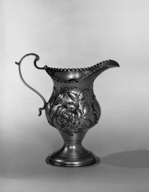 Hester Bateman (English, active in London, 1774-1789). <em>Creamer</em>, ca. 1775-1776. Silver, 4 x 2 1/4 in. (10.2 x 5.7 cm). Brooklyn Museum, Gift of Mr. and Mrs. Frederick B. Hicks, 64.152.31. Creative Commons-BY (Photo: Brooklyn Museum, 64.152.31_acetate_bw.jpg)