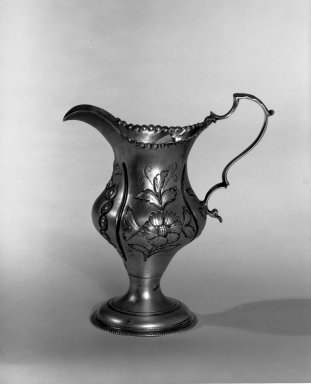 Hester Bateman (English, active in London, 1774-1789). <em>Creamer</em>, ca. 1781-1782. Silver, 4 1/4 x 2 1/4 in. (10.8 x 5.7 cm). Brooklyn Museum, Gift of Mr. and Mrs. Frederick B. Hicks, 64.152.32. Creative Commons-BY (Photo: Brooklyn Museum, 64.152.32_acetate_bw.jpg)