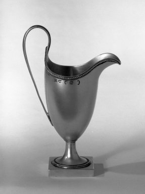 Hester Bateman (English, active in London, 1774-1789). <em>Creamer</em>, ca. 1787-1788. Silver, 6 x 1 7/8 x 1 7/8 in. (15.2 x 4.8 x 4.8 cm). Brooklyn Museum, Gift of Mr. and Mrs. Frederick B. Hicks, 64.152.34. Creative Commons-BY (Photo: Brooklyn Museum, 64.152.34_acetate_bw.jpg)
