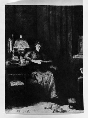 Julian Alden Weir (American, 1852-1919). <em>The Evening Lamp</em>, ca. 1890. Drypoint, etching on blue-gray laid paper, 5 1/4 x 3 7/8 in. (13.3 x 9.8 cm). Brooklyn Museum, Gift of Joseph S. Gotlieb, 64.166.5 (Photo: Brooklyn Museum, 64.166.5_bw.jpg)