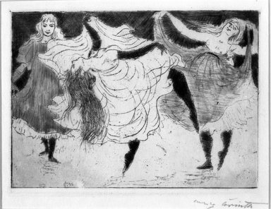 Lovis Corinth (German, 1858-1925). <em>Dancers (Tänzerinnen)</em>, 1895. Etching with roulette and plate tone on thin Japan paper, Image (Plate): 5 5/16 x 7 1/2 in. (13.5 x 19.1 cm). Brooklyn Museum, Gift of Margarete Schultz, 64.17 (Photo: Brooklyn Museum, 64.17_acetate_bw.jpg)