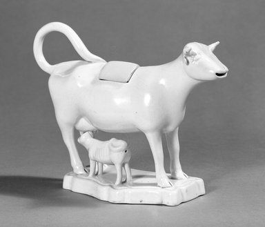 Attributed to Leeds Pottery (ca. 1758-1878). <em>Cowshaped Jug</em>, ca. 1785-1790. Creamware, earthenware, 5 1/2 x 4 1/4 x 2 3/8 in. (14 x 10.8 x 6 cm). Brooklyn Museum, Gift of the Estate of Emily Winthrop Miles, 64.195.36. Creative Commons-BY (Photo: Brooklyn Museum, 64.195.36_bw.jpg)