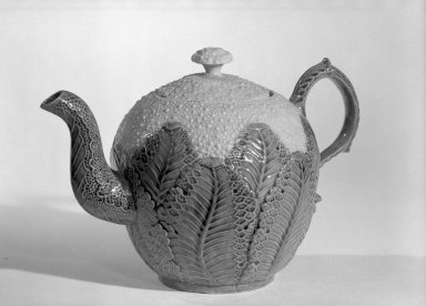 Josiah Wedgwood & Sons Ltd. (founded 1759). <em>Cauliflower Shaped Teapot</em>, ca. 1760., 5 3/4 x 8 1/2 x 2 5/8 in. (14.6 x 21.6 x 6.7 cm). Brooklyn Museum, Gift of the Estate of Emily Winthrop Miles, 64.195.49. Creative Commons-BY (Photo: Brooklyn Museum, 64.195.49_acetate_bw.jpg)