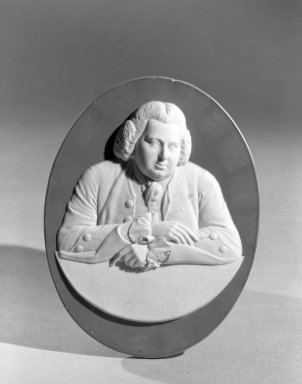 Josiah Wedgwood & Sons Ltd. (founded 1759). <em>Portrait Medallion</em>, ca. 1790. Jasperware, 5 1/8 x 4 in. (13 x 10.2 cm). Brooklyn Museum, Gift of the Estate of Emily Winthrop Miles, 64.195.54 (Photo: Brooklyn Museum, 64.195.54_acetate_bw.jpg)