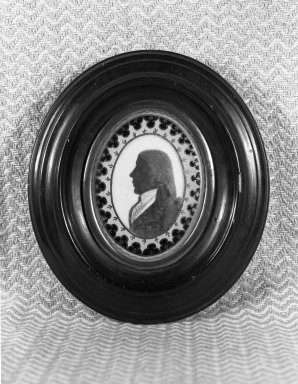 <em>Silhouette; Bust of Man Facing Left</em>, ca. 1790. Paint on ivory, gilt inner frame, wood outer frame, 3 7/8 x 4 3/8 in. (9.8 x 11.2 cm). Brooklyn Museum, Gift of the Estate of Emily Winthrop Miles, 64.195.78 (Photo: Brooklyn Museum, 64.195.78_acetate_bw.jpg)