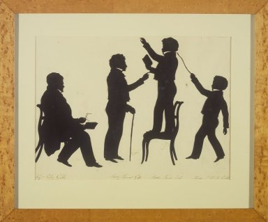 August Edouart (French, 1789-1861). <em>Cut Silhouette of Four Full Figures</em>, ca. 1830. Paper, wood frame with gilt trim, framed size: 15 x 18 in. (38.1 x 45.7 cm). Brooklyn Museum, Gift of the Estate of Emily Winthrop Miles, 64.195.93 (Photo: Brooklyn Museum, 64.195.93.jpg)