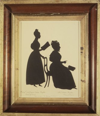 August Edouart (French, 1789-1861). <em>Cut Silhouette of Two Women Facing Right</em>, ca. 1835. Paper (?), framed size: 14 1/2 x 12 3/4 in. (36.7 x 32.4 cm). Brooklyn Museum, Gift of the Estate of Emily Winthrop Miles, 64.195.97 (Photo: Brooklyn Museum, 64.195.97.jpg)