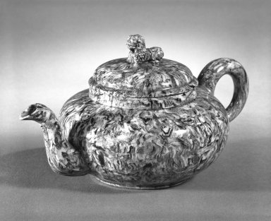 Attributed to Thomas Whieldon (1719-1795). <em>Small Teapot</em>, ca. 1750. Marbleized ware, 3 3/4 x 2 7/8 in. (9.5 x 7.3 cm). Brooklyn Museum, Gift of the Estate of Emily Winthrop Miles, 64.195.9. Creative Commons-BY (Photo: Brooklyn Museum, 64.195.9_bw.jpg)