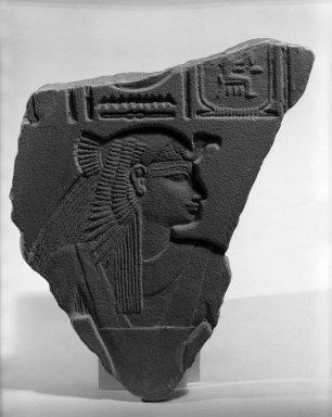 <em>Queen in Vulture Headdress</em>. Sandstone, 11 x 8 7/8 x 15/16 in. (28 x 22.5 x 2.4 cm). Brooklyn Museum, Charles Edwin Wilbour Fund, 64.200.2. Creative Commons-BY (Photo: Brooklyn Museum, 64.200.2_negA_bw_IMLS.jpg)