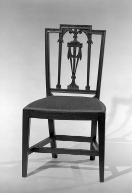 American. <em>Side Chair</em>, ca. 1880. Mahogany, 36 x 20 1/4 x 16 1/4 in. (91.4 x 51.4 x 41.3 cm). Brooklyn Museum, Gift of Mrs. Anthony Tamburro in memory of her mother, Grace Hunter Biddle, 64.205.1. Creative Commons-BY (Photo: Brooklyn Museum, 64.205.1_acetate_bw.jpg)