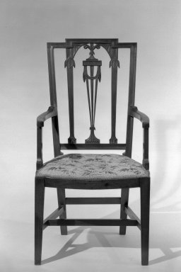 American. <em>Armchair, One of Pair</em>, ca. 1880. Mahogany, 41 x 22 1/2 x 19 1/2 in. (104.1 x 57.2 x 49.5 cm). Brooklyn Museum, Gift of Mrs. Anthony Tamburro in memory of her mother, Grace Hunter Biddle, 64.205.5. Creative Commons-BY (Photo: Brooklyn Museum, 64.205.5_acetate_bw.jpg)