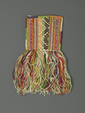 Quechua. <em>Coca Bag</em>. Camelid fiber? wool?, 5 1/2 x 12 in. (14 x 30.5 cm). Brooklyn Museum, Gift of Dr. Werner Muensterberger, 64.210.16. Creative Commons-BY (Photo: Brooklyn Museum, 64.210.16_PS2.jpg)