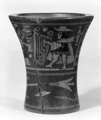 Inca. <em>Ceremonial Beaker or Kero Cup</em>. Wood, resin, pigments, 3 9/16 x 3 1/8in. (9 x 7.9cm). Brooklyn Museum, Gift of Dr. Werner Muensterberger, 64.210.1. Creative Commons-BY (Photo: Brooklyn Museum, 64.210.1_view1_bw.jpg)