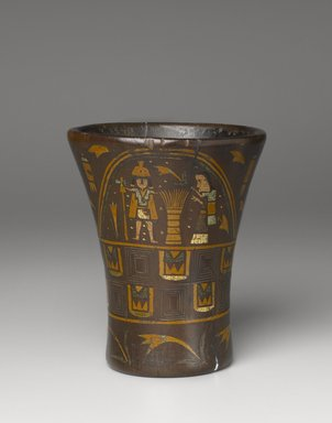 <em>Kero Cup</em>, late 16th-17th century. Wood with pigment inlay, 7 13/16 x 6 1/2in. (19.8 x 16.5cm). Brooklyn Museum, Gift of Dr. Werner Muensterberger, 64.210.2. Creative Commons-BY (Photo: Brooklyn Museum, 64.210.2_PS6.jpg)