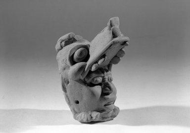 Maya. <em>Head</em>. Ceramic, 2 1/4 x 3 1/2 x 3 3/4 in. (5.7 x 8.9 x 9.5 cm). Brooklyn Museum, Carll H. de Silver Fund, 64.213.1. Creative Commons-BY (Photo: Brooklyn Museum, 64.213.1_acetate_bw.jpg)