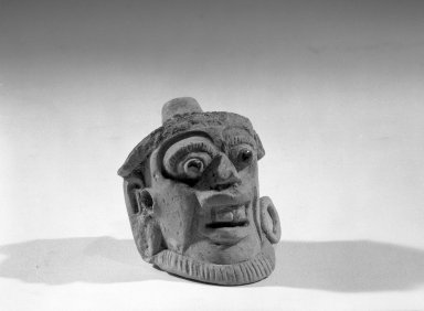 Maya. <em>Head</em>. Ceramic, 2 1/8 x 2 1/2 x 3 1/4 in. (5.4 x 6.4 x 8.3 cm). Brooklyn Museum, Carll H. de Silver Fund, 64.213.3. Creative Commons-BY (Photo: Brooklyn Museum, 64.213.3_acetate_bw.jpg)