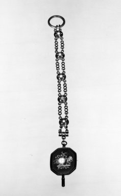 <em>Watch Key and Chain</em>, ca. 1800. Gold, enamel, 8 x 1 x 1/8 in. (20.3 x 2.5 x 0.3 cm). Brooklyn Museum, Anonymous gift, 64.241.17. Creative Commons-BY (Photo: Brooklyn Museum, 64.241.17_acetate_bw.jpg)