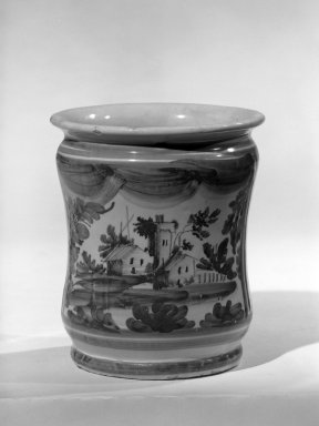 Delft. <em>Drug Pot, One of a Set</em>, ca. 1714. Tin-glazed earthenware, 5 3/4 x 4 1/2 in. (14.6 x 11.4 cm). Brooklyn Museum, Anonymous gift, 64.241.53. Creative Commons-BY (Photo: Brooklyn Museum, 64.241.53_acetate_bw.jpg)