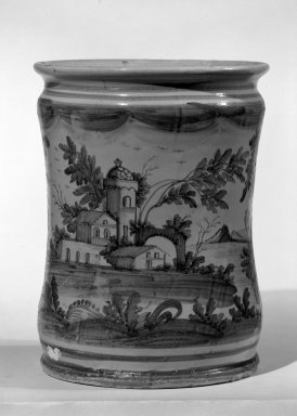 <em>Drug Pot, One of a Set</em>, ca. 17th or 18th century. Tin-glazed earthenware, 10 x 7 3/4 in. (25.4 x 19.7 cm). Brooklyn Museum, Anonymous gift, 64.241.62. Creative Commons-BY (Photo: Brooklyn Museum, 64.241.62_acetate_bw.jpg)