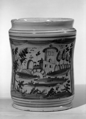 <em>Drug Pot, One of a Set</em>, ca. 17th or 18th century. Tin-glazed earthenware, 10 x 7 3/4 in. (25.4 x 19.7 cm). Brooklyn Museum, Anonymous gift, 64.241.63. Creative Commons-BY (Photo: Brooklyn Museum, 64.241.63_acetate_bw.jpg)