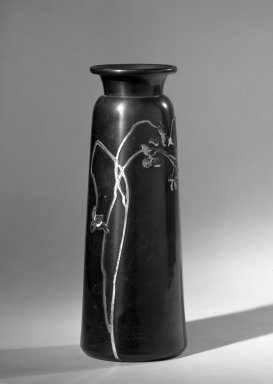 Possibly Annesley Gallery. <em>Vase</em>, ca. 1900. Copper or copper and brass alloy, 9 1/2 x 3 in. (24.1 x 7.6 cm). Brooklyn Museum, Anonymous gift, 64.241.73. Creative Commons-BY (Photo: Brooklyn Museum, 64.241.73_acetate_bw.jpg)