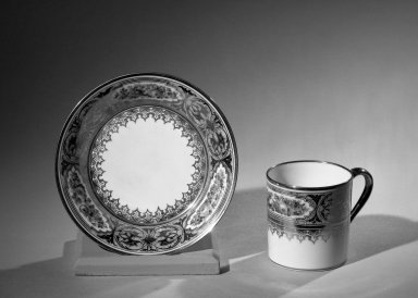 Sevres Porcelain Factory. <em>Cup and Saucer, Part of Set</em>. Porcelain Brooklyn Museum, Anonymous gift, 64.241.90a-b. Creative Commons-BY (Photo: Brooklyn Museum, 64.241.90a-b_acetate_bw.jpg)