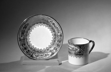 Sevres Porcelain Factory. <em>Cup and Saucer, Part of Set</em>. Porcelain Brooklyn Museum, Anonymous gift, 64.241.92a-b. Creative Commons-BY (Photo: Brooklyn Museum, 64.241.92a-b_acetate_bw.jpg)