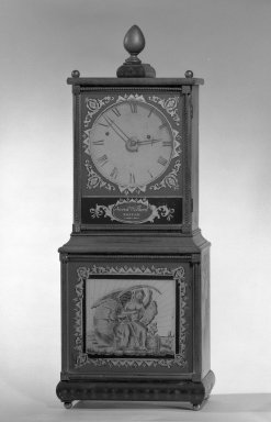 American. <em>Clock</em>, ca. 1820. Carved and gilded maple, 34 x 11 in. (86.4 x 27.9 cm). Brooklyn Museum, Gift of Sidney W. Davidson, 64.242. Creative Commons-BY (Photo: Brooklyn Museum, 64.242_acetate_bw.jpg)
