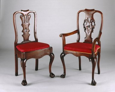 <em>Armchair</em>, 1750-1800. Mahogany, upholstery, 40 1/4 x 25 1/4 x 17 3/4in. (102.2 x 64.1 x 45.1cm). Brooklyn Museum, Gift of Robert W. Dowling, 64.243.6. Creative Commons-BY (Photo: , 64.243.1_64.243.6_SL1.jpg)
