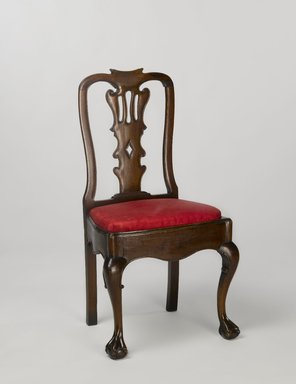 <em>Side Chair (Taburete)</em>, 1750-1800. Mahogany with modern upholstery, 40 x 22 x 16 3/4 in. (101.6 x 55.9 x 42.5 cm). Brooklyn Museum, Gift of Robert W. Dowling, 64.243.1. Creative Commons-BY (Photo: Brooklyn Museum, 64.243.1_PS4.jpg)