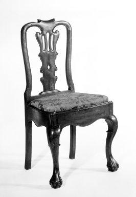 <em>Side Chair</em>, ca. 1750-1800. Mahogany or walnut, 35 1/2 x 19 x 19 in. (90.2 x 48.3 x 48.3 cm). Brooklyn Museum, Gift of Robert W. Dowling, 64.243.4. Creative Commons-BY (Photo: Brooklyn Museum, 64.243.4_bw.jpg)
