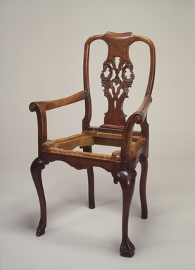 <em>Armchair</em>, 1750-1800. Mahogany, upholstery, 40 1/4 x 25 1/4 x 17 3/4in. (102.2 x 64.1 x 45.1cm). Brooklyn Museum, Gift of Robert W. Dowling, 64.243.6. Creative Commons-BY (Photo: Brooklyn Museum, 64.243.6.jpg)