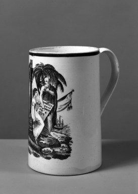 <em>Mug</em>, ca. 1800. Earthenware, 6 x 3 7/8 in. (15.2 x 9.8 cm) . Brooklyn Museum, Gift of Mrs. William C. Esty, 64.244.22. Creative Commons-BY (Photo: Brooklyn Museum, 64.244.22_acetate_bw.jpg)