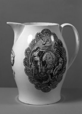 <em>Pitcher</em>, ca. 1800. Earthenware, 8 3/16 x 4 9/16 in. (20.8 x 11.6 cm). Brooklyn Museum, Gift of Mrs. William C. Esty, 64.244.25. Creative Commons-BY (Photo: Brooklyn Museum, 64.244.25_acetate_bw.jpg)
