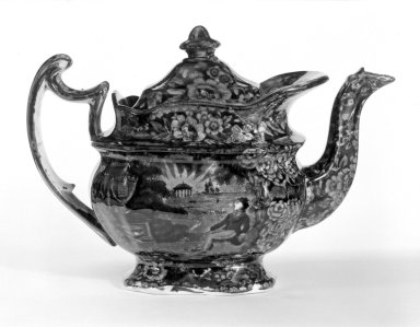 Enoch Wood & Sons (active 1818-1846). <em>Teapot and Cover</em>, ca. 1830. Earthenware, 7 1/2 x 3 1/2 x 4 3/8 in. (19.1 x 8.9 x 11.1 cm). Brooklyn Museum, Gift of Mrs. William C. Esty, 64.244.37a-b. Creative Commons-BY (Photo: Brooklyn Museum, 64.244.37a-b_bw.jpg)