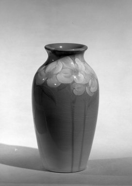 Rookwood Pottery Company (1880-1967). <em>Vase</em>, ca. 1900. Earthenware, 7 x 2 1/2 in. (17.8 x 6.4 cm). Brooklyn Museum, Gift of Mrs. Anthony Tamburro in memory of her father, Rene de Quelin, 64.246.1. Creative Commons-BY (Photo: Brooklyn Museum, 64.246.1_acetate_bw.jpg)