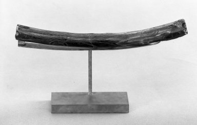 Old Bering Sea. <em>Fossil Bone with Incised Design</em>, 100-500 C.E. Walrus ivory, 9 1/4 x 3/4 in. (23.5 x 1.9 cm). Brooklyn Museum, Gift of Mr. and Mrs. Alastair B. Martin, the Guennol Collection, 64.249. Creative Commons-BY (Photo: Brooklyn Museum, 64.249_acetate_bw.jpg)