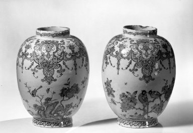 <em>Pair of Vases</em>, ca. 1700. Glaze earthenware, Height: 8 1/4 in. (21 cm). Brooklyn Museum, Purchased with funds given by anonymous donors, 64.3.1a-b. Creative Commons-BY (Photo: Brooklyn Museum, 64.3.1a-b_acetate_bw.jpg)